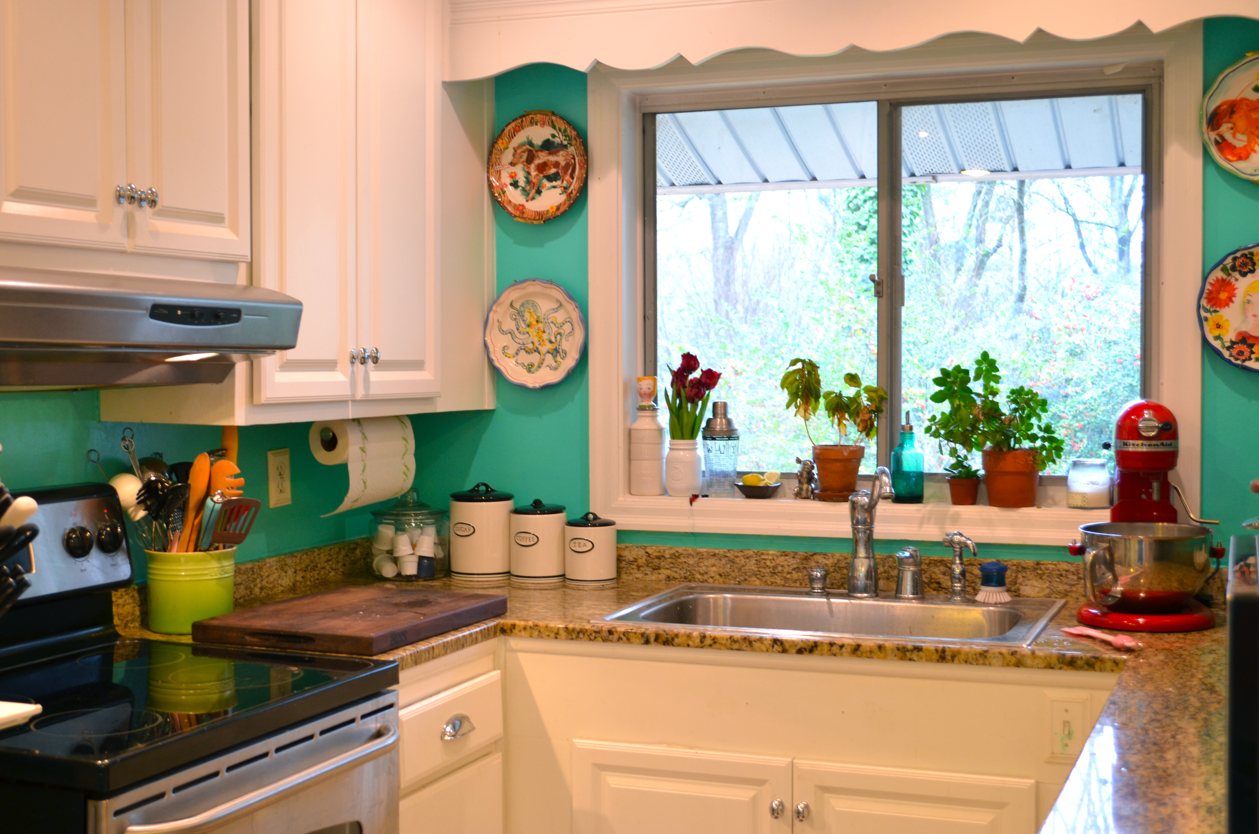 Red and turquoise kitchen ideas for What is my kitchen style